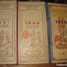 Documentos antiguos: 3 DIETARI CATALÀ 1931 - 33 - 34 PLANOS ANOTACIONES FINCA VINICOLA VINO DIETARIO AGENDA CALENDARIO. Lote 67681917