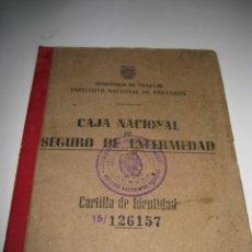 Documentos antiguos: ANTIGUA CARTILLA ,CAJA NACIONAL DEL SEGURO DE ENFERMEDAD.AÑO 1953. Lote 67764153