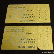 Documentos antiguos: DOS ENTRADAS A MUSEOS . Lote 68281361