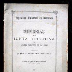 Documentos antiguos: 1887 - MEMORIAS DE LA JUNTA DIRECTIVA - EXPOSICION UNIVERSAL BARCELONA. Lote 68491529