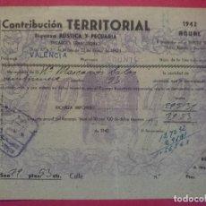 Documentos antiguos: RECIBO CONTRIBUCION TERRITORIAL - SAGUNTO - (VALENCIA), AÑO1942 ... R-3783. Lote 68538649