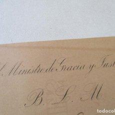 Documentos antiguos: INVITACIÓN DE: EL MINISTRO DE GRACIA Y JUSTICIA B. L. M.- MADRID 1º DE FEBRERO DE 1896--20.5 X 13 CM. Lote 68583501