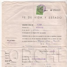 Documentos antiguos: FE DE VIDA Y ESTADO - REGISTRO CIVIL DE ALCOY (ALICANTE). Lote 68596453