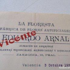Documentos antiguos: ANTIGUA CARTA DE: LA FLORISTERÍA, FÁBRICA DE FLORES ARTIFICIALES-VALENCIA 3 DE OCTUBRE DE 1927-. Lote 68623413
