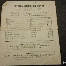 Documentos antiguos: COLEGIO NUESTRA SEÑORA DEL ESPINO, HOJA DE CALIFICACIONES,1947. Lote 68625877