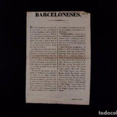 Documentos antiguos: AVISO A LOS BARCELONESES 07.10.1835. Lote 68633869