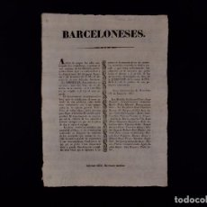 Documentos antiguos: AVISO A LOS BARCELONESES 19.06.1837. Lote 68637365