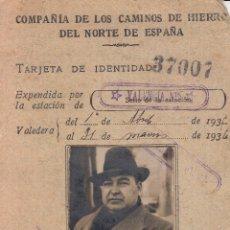 Documentos antiguos: 1935 36 VALENCIA Nº. TARJETA IDENTIDAD COMPAÑIA CAMINOS HIERRO NORTE ESPAÑA. Lote 69098393