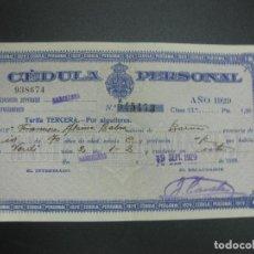 Documentos antiguos: CEDULA PERSONAL DIPUTACION PROVINCIAL DE BARCELONA 19 SEPT. 1929.. Lote 69358249