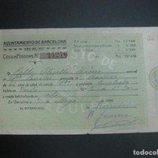 Documentos antiguos: CEDULA PERSONAL AYUNTAMIENTO DE BARCELONA. 7 MAYO 1921.. Lote 69358593