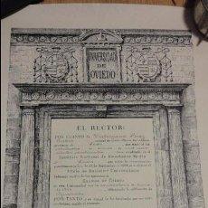 Documentos antiguos: ANTIGUO TITULO BACHILLER UNIVERSITARIO.VICTORIANO PEREZ RUBIO.OVIEDO.1946.. Lote 69421125