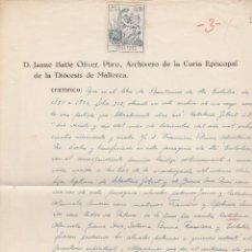 Documentos antiguos: ANTIGUO DOCUMENTO DEL ARCHIVERO DE LA CURIA EPISCOPAL DE LA DIOCESIS DE MALLORCA. 1946. Lote 69471673