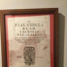 Documentos antiguos: REAL CÉDULA . 1773. OÑATE. GUIPÚZCOA. PAÍS VASCO. CARLOS III. Lote 69820521