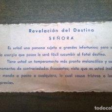 Documentos antiguos: TARJETA PITONISA. Lote 70138425