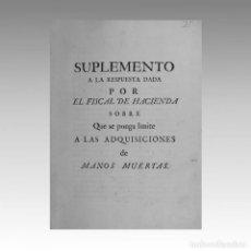 Documentos antiguos: HACIENDA ESPAÑOLA MANOS MUERTAS. SIGLO XVIII - CONSEJO DE HACIENDA. SIGLO XVIII. Lote 54238215