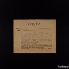 Documentos antiguos: EDICTO AYUNTAMIENTO DE GUECHO 22.07.1912. Lote 71023097