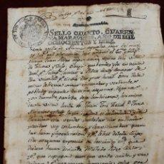 Documentos antiguos: DOCUMENTO, SELLO FISCAL CUARTO CUARENTA MARAVEDIS 1810, FERNANDO VII, ALHAMA, TOTANA, MURCIA. Lote 71118745