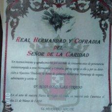 Documentos antiguos: DIPLOMA REAL HERMANDAD Y COFRADIA DEL SEÑOR DE LA CARIDAD. Lote 71144945