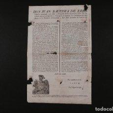Documentos antiguos: EDICTO D. JUAN BAUTISTA DE ERRO 1819. Lote 71176189