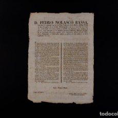 Documentos antiguos: EDICTO D PEDRO NOLASCO BASSA 13.06.1835. Lote 71176441