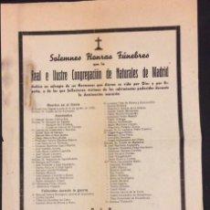 Documentos antiguos: HONRAS FUNEBRES DE LA REAL E ILUSTRE CONGREGACION DE MADRID. LISTA DE MUERTOS EN EL FRENTE.. Lote 71642707