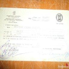 Documentos antiguos: CERTIFICADO SERVICIO SOCIAL DE LA MUJER. FALANGE. CADIZ 1973. Lote 72053523
