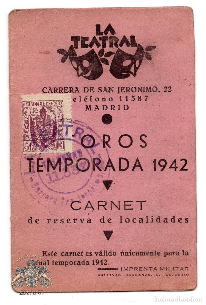 Documentos antiguos: CARNET TEATRO - OROS TEMPORADA 1942 - LA TEATRAL - Foto 1 - 73496223