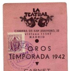 Documentos antiguos: CARNET TEATRO - OROS TEMPORADA 1942 - LA TEATRAL. Lote 73496223