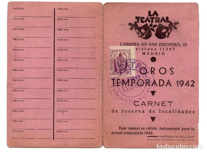 Documentos antiguos: CARNET TEATRO - OROS TEMPORADA 1942 - LA TEATRAL - Foto 2 - 73496223