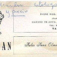 Documentos antiguos: ** TS244 - TARJETA DE VISITA - JUSAN - VALENCIA. Lote 73534323