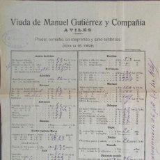 Documentos antiguos: ASTURIAS.AVILES.'VIUDA DE MANUEL GUTIERREZ Y CIA.' HOJA DE PRECIOS 28 ABRIL DE 1910. Lote 73563523