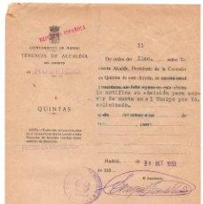 Documentos antiguos: QUINTAS - REPÚBLICA - NOTIFICACIÓN CORRESPONDIDO SORTEO SOLD. CUERPO DE FILAS NOVIEMBRE 1933. Lote 73827939