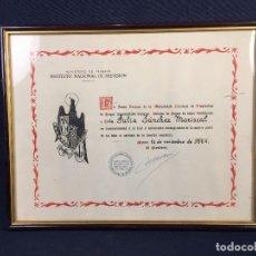 Documentos antiguos: INSTITUTO NACIONAL PREVISION MUTUALIDAD NACIONAL EMPLEADOS HOGAR AFILIADA DE HONOR FAMILIA ESPAÑOLA. Lote 73954259