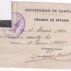 Documentos antiguos: UNIVERSIDAD DE SANTIAGO DE COMPOSTELA . TARJETA PARA EXAMEN DE ESTADO. REVERSO CALIFICACIÓN. 1940. Lote 74311299