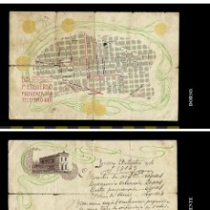 Documentos antiguos: RECETA CONSULTORIO DR. ESQUERDO. BARCELONA. 1904. SELLO FARMACIA N.POU. SOLSONA. Y MAPA DE BARCELONA. Lote 74458303