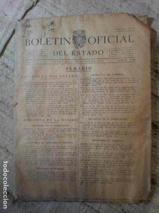 BOLETIN OFICIAL DEL ESTADO, AÑO VI, 1941, Nº 205, GOBIERNO DE LA NACION (REF-1AC) (Coleccionismo - Documentos - Otros documentos)