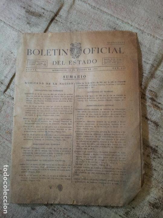 BOLETIN OFICIAL DEL ESTADO, AÑO VI, 1941, Nº 232, GOBIERNO DE LA NACION (REF-1AC) (Coleccionismo - Documentos - Otros documentos)