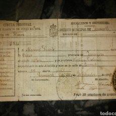 Documentos antiguos: CEDULA PERSONAL JORNALEROS Y SIRVIENTES AÑO1875. Lote 74730885
