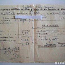 Documentos antiguos: IMPRESO DE MATRICULA - CONSERVATORIO DE MUSICA Y ESCUELA DE ARTE DRAMATICO DE MALAGA 1963. Lote 75364027
