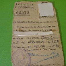 Documentos antiguos: PERMISO-LICENCIA-CARNET DE CONDUCIR 1958. Lote 75500223