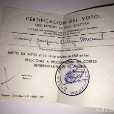 Documentos antiguos: RA300 DOCUMENTO ELECTORAL VOTO ELCHE 1967. Lote 75537975