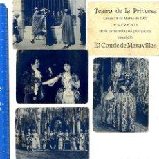Documentos antigos: MADRID TEATRO DE LA PRINCESA EL CONDE DE LAS MARAVILLAS CONJUNO 5 AFFICHES 1927. Lote 75981779