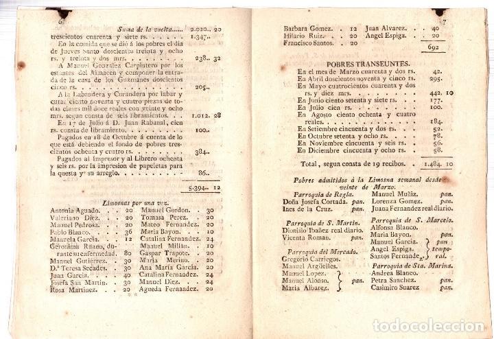 Documentos antiguos: CUENTA Y RAZON QUE DAN LOS CURADORES DE POBRES. REAL SOCIEDAD CAUDALES. LEON AÑO 1818 - Foto 3 - 76000535