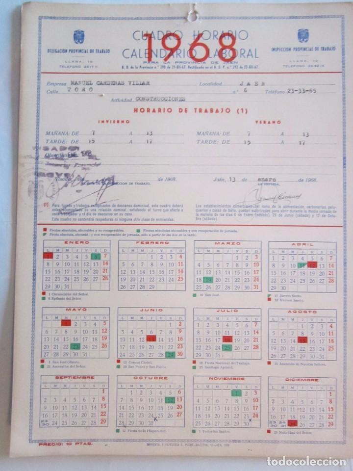 Calendario Laboral Jaen 2020.Calendario Laboral De Empresas 24x32cm 1968 Con Las Fiestas Locales Provincia De Jaen En Reverso