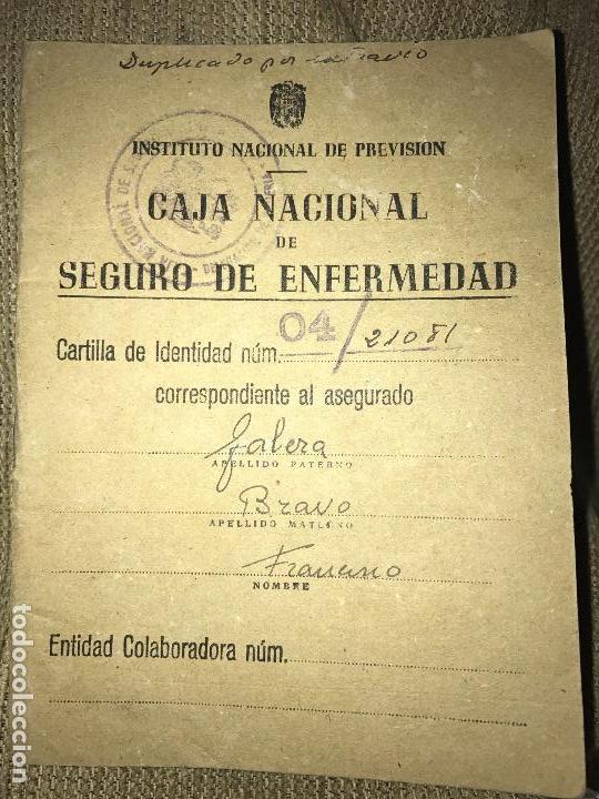ANTIGIA CARTILLA CAJA NACIONAL SEGURO ENFERMEDAD 1946 (Coleccionismo - Documentos - Otros documentos)