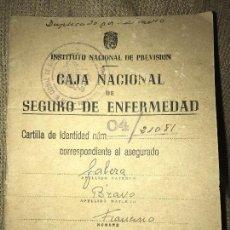 Documentos antiguos: ANTIGIA CARTILLA CAJA NACIONAL SEGURO ENFERMEDAD 1946. Lote 76098679