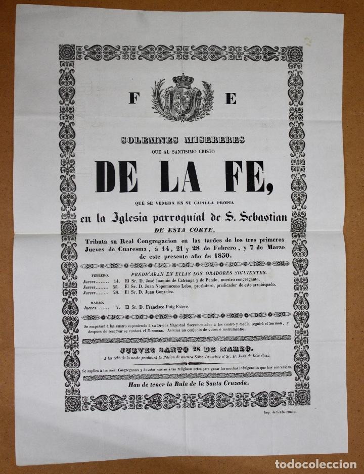 DOCUMENTO DE SOLEMNES MISERERES DEL SANTISIMO CRISTO DE LA FE. IGLESIA PARROQUIAL DE S. SEBASTIAN. (Coleccionismo - Documentos - Otros documentos)
