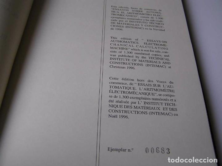 Documentos antiguos: L. TORRES QUEVEDO ENSAYOS SOBRE AUTOMÁTICA. EL ARITMÓMETRO ELECTROMECÁNICO - INTEMAC 1996 - Foto 3 - 76235959