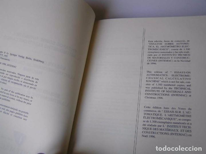 Documentos antiguos: L. TORRES QUEVEDO ENSAYOS SOBRE AUTOMÁTICA. EL ARITMÓMETRO ELECTROMECÁNICO - INTEMAC 1996 - Foto 39 - 76235959