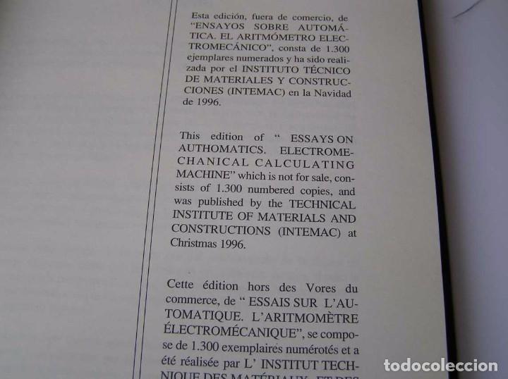 Documentos antiguos: L. TORRES QUEVEDO ENSAYOS SOBRE AUTOMÁTICA. EL ARITMÓMETRO ELECTROMECÁNICO - INTEMAC 1996 - Foto 40 - 76235959
